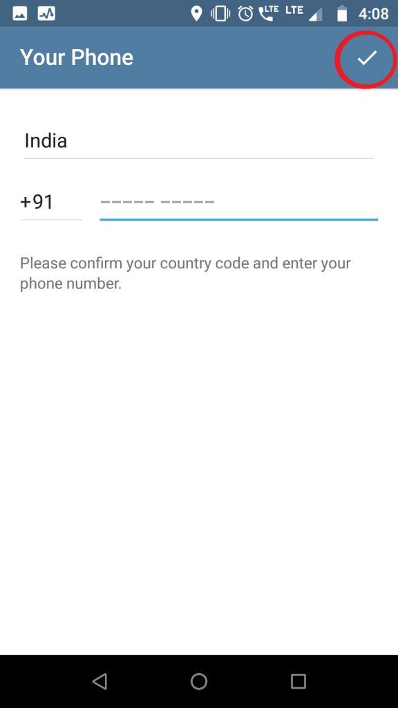 Enter Number for Telegram Registration