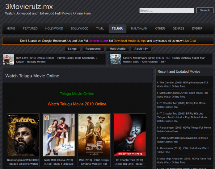 Watch Telugu, Tamil, Malayalam, Hindi Movie Online www.3movierulz.ds