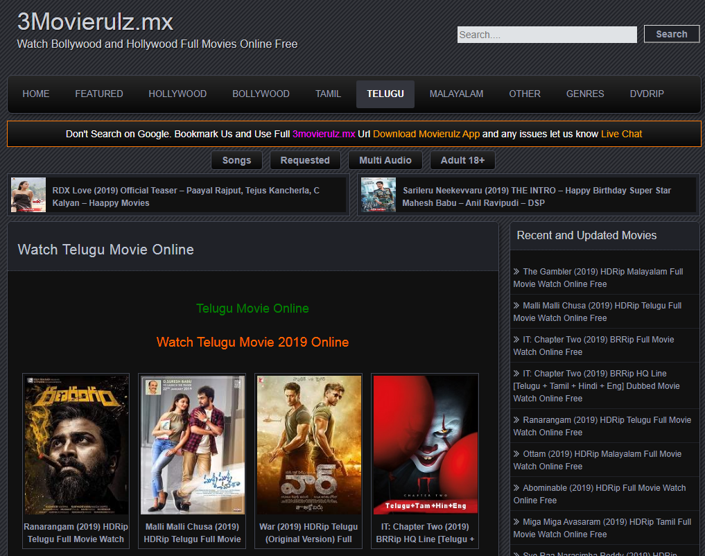 Watch Telugu, Tamil, Malayalam, Hindi Movie Online _ Movierulz