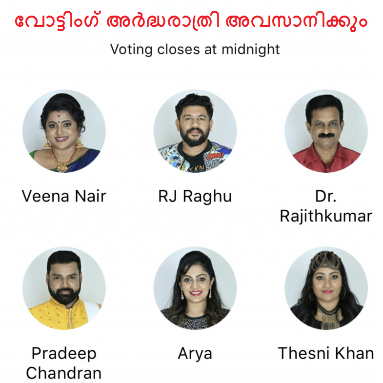 Bigg Boss Malayalam Season 2 evictions